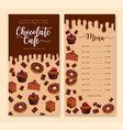 chocolate cake and dessert menu template design vector image vector image