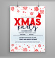 christmas party flyer design with santa claus cap vector image
