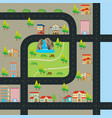 city map with road and many landmarks vector image vector image