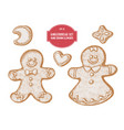 collection hand drawn pastel gingerbread vector image vector image