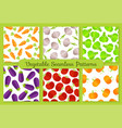 colorful flat vegetables seamless pattern set vector image