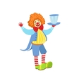 Colorful Friendly Clown Holding Top Hat In Classic vector image vector image