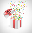 confetti with gift box on grayscale vector image vector image