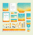 corporate identity design template with colorful vector image