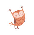 cute cartoon owlet bird character standing with vector image vector image