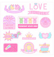 cute girly badges girl sticker sweet pastel emblem vector image