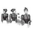 dress in front and back vintage engraving vector image vector image