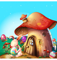 Easter eggs hidden near a mushroom-designed house vector | Price: 1 Credit (USD $1)