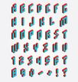 fonts pixel isometric vector image
