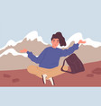happy woman or hiker with backpack sitting on the vector image