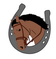 horse head in horseshoe logo design vector image vector image