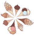 ice-cream cones vector image