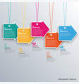 info graphic with hanging colored design arrows vector image