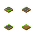isometric road set of road sand cracks vector image vector image