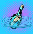 just married bottle with note sea vector image