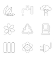 kind energy icons set outline style vector image vector image