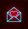 letter heart neon sign vector image