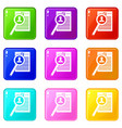 magnifying glass over curriculum vita icons 9 set vector image vector image