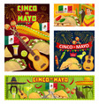 mexican guitars sombreros cinco de mayo party vector image vector image