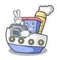 photographer ship mascot cartoon style vector image vector image