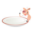 pig cook showing menu on dishware vector image vector image