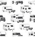 seamless pattern with camper vans silhouettes vector image vector image