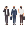 set of bearded caucasian men dressed in business vector image