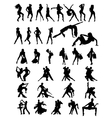 Set of silhouettes of dancing couple and girls vector image vector image