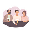 smiling man sitting at bar counter with friends vector image vector image