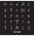 victory editable line icons set on black vector image vector image