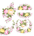 vintage rose flowers set over white background vector image vector image