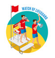 watch of lifeguard round design concept vector image
