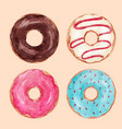 watercolor tasty donuts set vector image