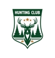 Hunting club badge design with deer head on shield vector image