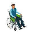 man sits in wheelchair invalid disabled cripple vector image