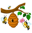Bees cartoon holding flower and a beehive vector image