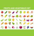 fresh fruit and vegetable icon set flat cartoon vector image