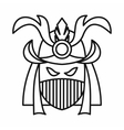 Japanese samurai mask icon outline style vector image
