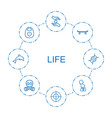 8 life icons vector image vector image
