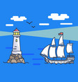 banner depicting lighthouse and ship at sea vector image