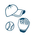baseball glove and cap icon in doodle style vector image vector image