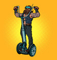 biker on electric scooter virtual reality vr vector image vector image