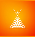 billiard cue and balls in a rack triangle icon vector image vector image