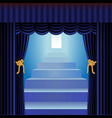 blue curtains with staircase vector image vector image