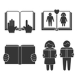 Book reading icons set vector image