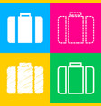 briefcase sign four styles of icon vector image