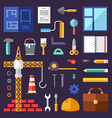 Building Set of Icons and in Flat Design Style vector image