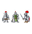 cartoon colored three medieval knights prepering vector image