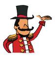 cartoon host man circus festival vector image