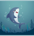 cartoon shark in deep blue water vector image
